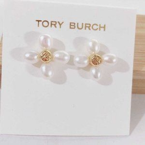 Tory Burch Baroque Pearl Clover Irregular Earrings